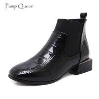 PumpQueen Moda Chelsea Çizme Kadın Ayakkabı 2018 Bahar Ayakkabı Kadın Yeni Geometrik Rugan Düz Ayak Bileği Çizmeler tenis feminino