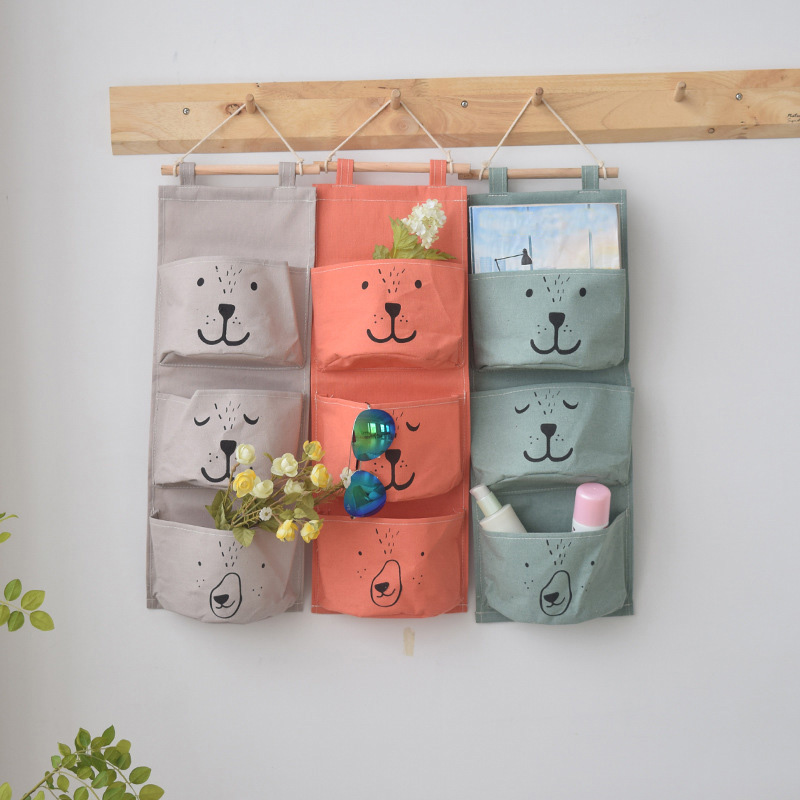 Cartoon Color Printing Childrens Room Wall Storage Hanging Bag With 3 Pockets Wall Mounted Closet Bag Hanging Wall Bag Organize Baby Care Mother & Kids