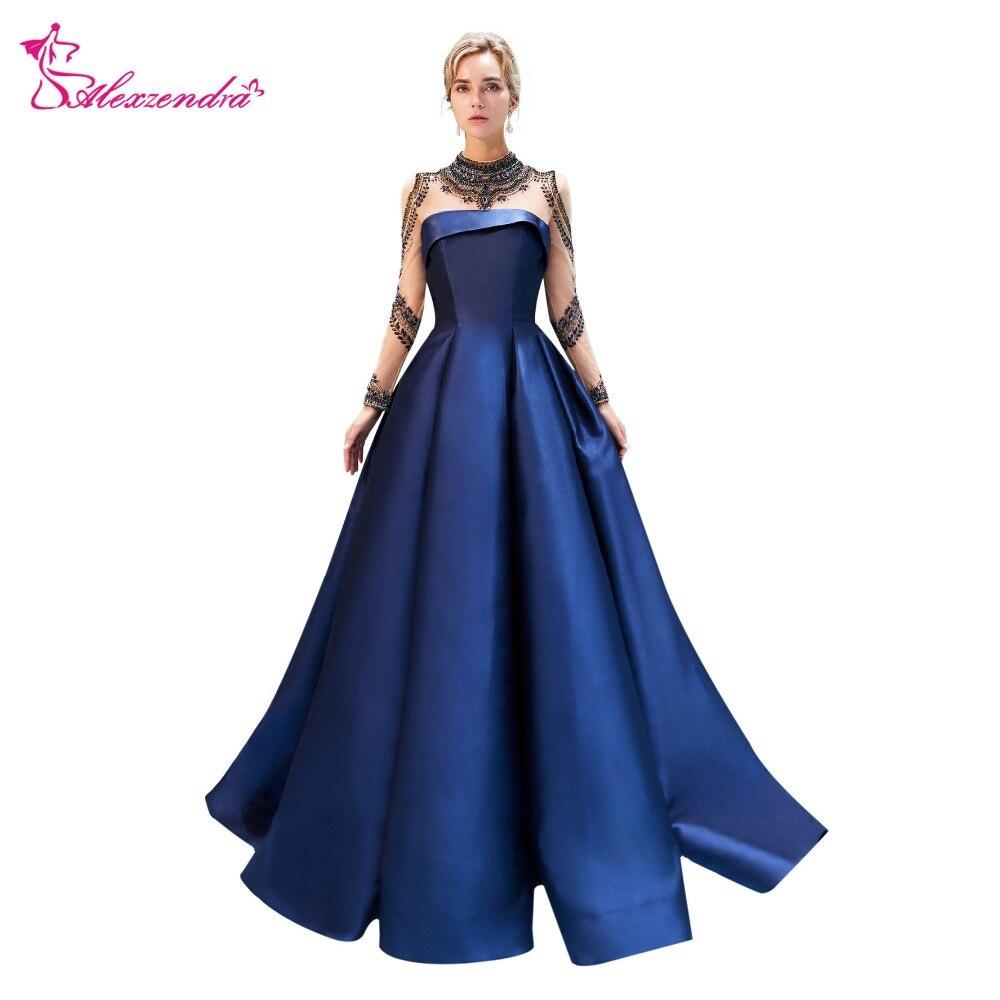 Alexzendra New High Neck Long Sleeve Royal Blue Ball Gown Formal ...