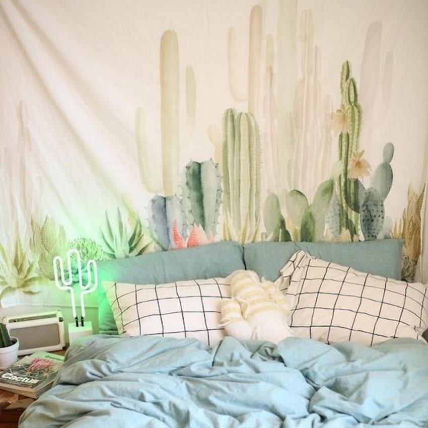 녹색 식물 선인장 매달려 천 태피스트리, 다기능 태피스트리 140 * 200cm, 테이블 천, 벽 천, 착용 가능한 비치 담요