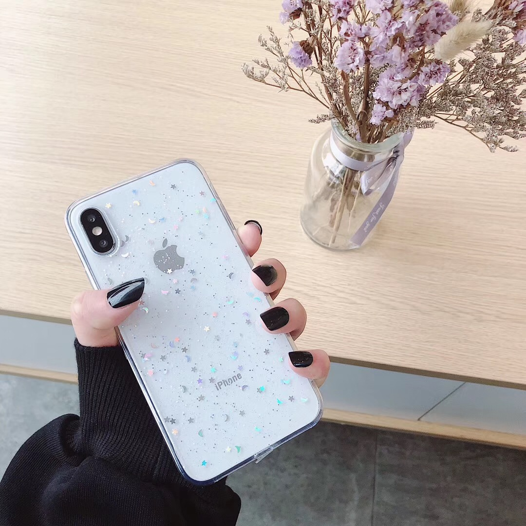 HTB1uyOiauH2gK0jSZJnq6yT1FXay - For Apple iPhone 11 Pro 6 6s 8 7 Plus XR 10 X XS Max 5S Cover Glitter Bling Star Moon Sequins Soft TPU Clear Silicone Phone Case