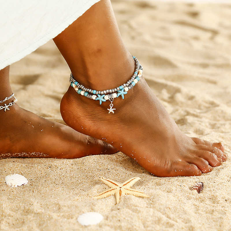 Boho Style Star Anklet Fashion Multilayer Foot Jewelry Fashion gold color Chain Ankle Bracelet for Women Beach Party Gift ns27