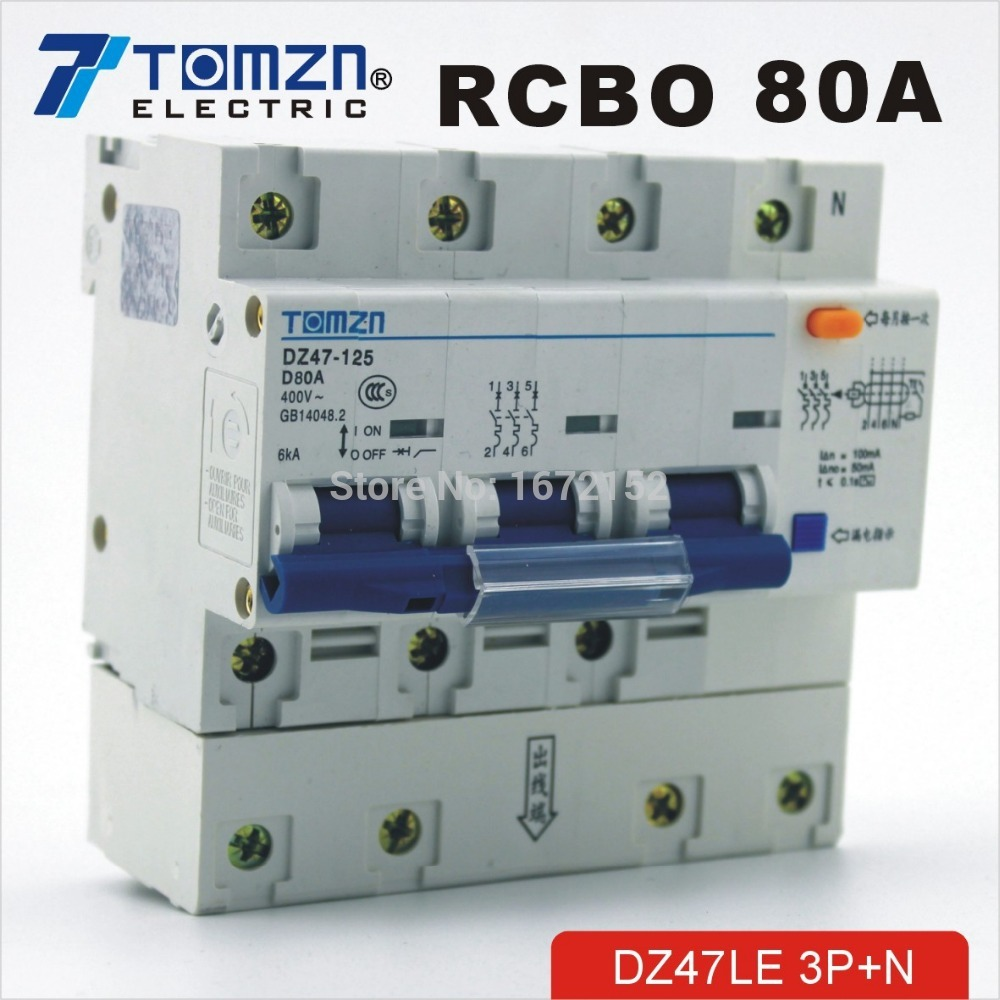 DZ47LE 3P+N 80A D type 400V~ 50HZ/60HZ Residual current Circuit breaker with over current and Leakage protection RCBO