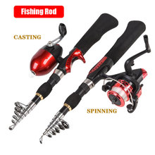 Mini Lure Casting/Spinnig Fishing Rod 3-set 1.6m Carbon Rod+Reel+Fishing Bag Fly Casting De Pesca