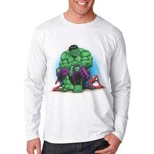 Moda Hombre 2019 New Arrival Cotton Long Sleeve Men T-Shirt  Superhero Hulk Printing White T Shirts Fashion Tops Mens Clothing
