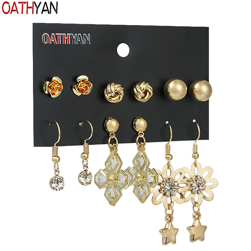 Jewelry & Accessories Sweet-Tempered Oathyan 6 Pairs/set Classic Rhinestone Crystal Flower Earrings Sets For Women Golden Color Metal Ball Stud Earring Jewelry Gift To Make One Feel At Ease And Energetic