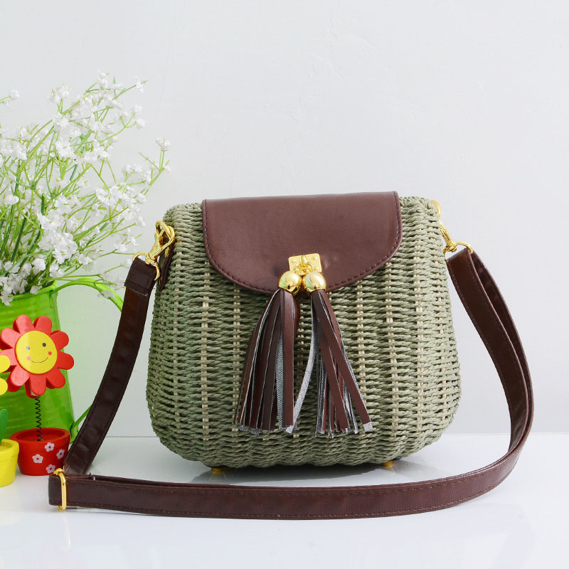 New Women Tassel Straw Bags Bohemian Female Vintage Rattan Knitted Handbag Summer Beach Lady Casual Weave Shoulder Bag SS3161 (4)