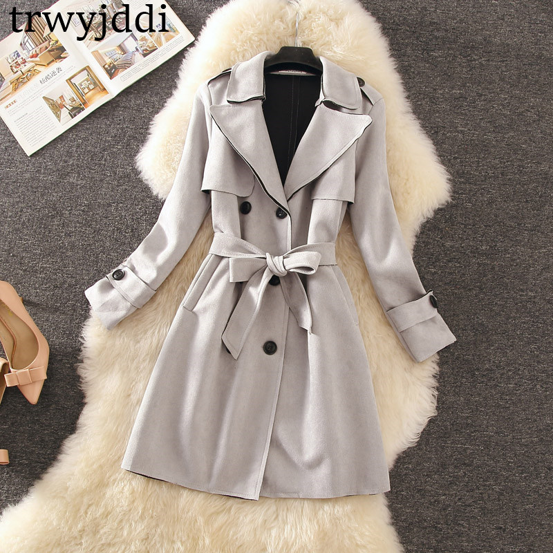 2019 New Spring Autumn Suede   Trench   Coat For Women Belt Turn Down Collar Slim Overcoat Medieval Long   Trench   Female N413