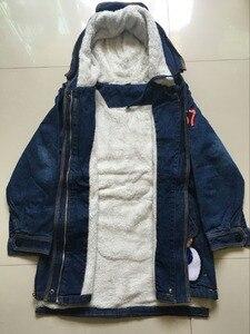Image 5 - 2020 yeni kış çocuk kız Denim ceket çocuk artı kalın kadife ceket büyük bakire sıcak tutan kaban pamuk kapşonlu dış giyim kız