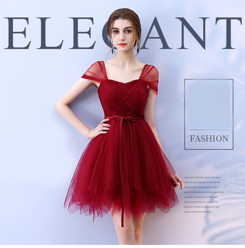 Bridesmaid Dress Elegant Plus Size Party Dress Mini Sashes For Wedding Guests Ball Gown Wine Red Sexy Dress Short Prom Dress