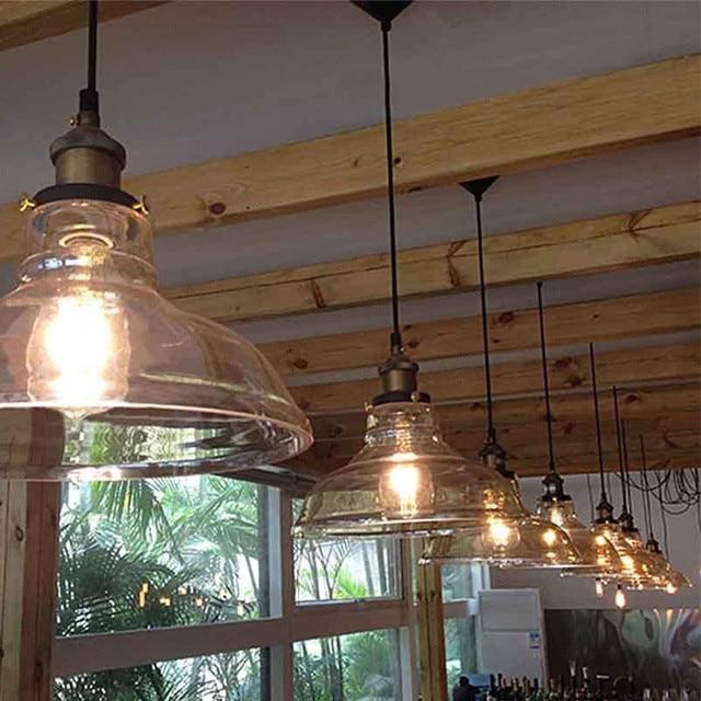 Vintage Antique Clear Gl Lamp Shade Pendant Light Industral Loft Bar Bowl Kitchen Ings