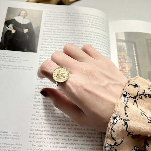 df4c65955 LouLeur 925 sterling silver figure coin rings gold round long hair girl  figure emboss open rings