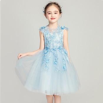 O-neck Lace Children Formal Dresses Beads Flower Applique Girl Communion Dress Wedding Pageant Sleeveless Mesh Ball Gown