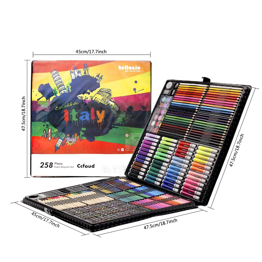 Image 2 - 258 Pcs Drawing Set Children Painting Art Set Kit Crayon Colored Pencil Watercolor School Art Supplies Paint Brush For Drawing-in Art Sets from Office & School Supplies