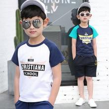 New Summer Boys T-shirt All Cotton Short Sleeved Tee Shirt Big Kids Boys Tops Fahion Printed Letter Children Clothes 171