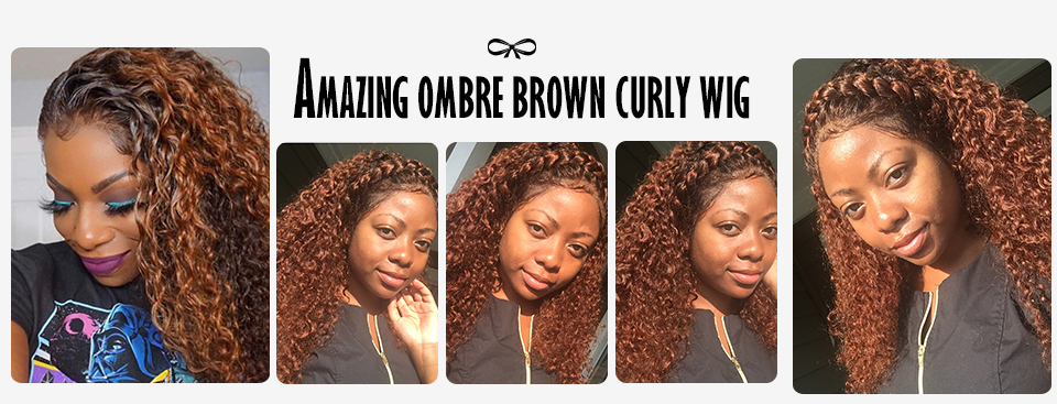 Amazing ombre brown curly wig