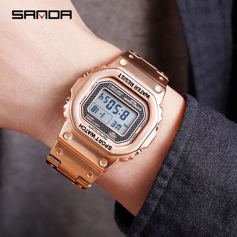 Sanda Sports Watch Clock Digital Square Electronic Fashion Relogio Dial Masculino LED