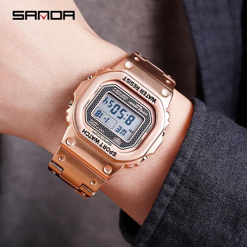 Sanda Fashion Men Watches Square Digital Dial LED Electronic Sports Watch Male Clock relogio masculino digital 2019