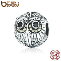BAMOER High Quality Authentic 925 Sterling Silver Lovely Vivid Owl Animal Beads Fit Charm Bracelets For