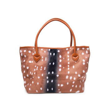 Wholesale Flannel Deer Tote Bag  Deer Print Handbag Large Shopping Purse DOM103684 tote bag