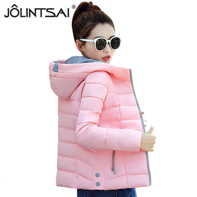 JOLINTSAI New Short Winter Jacket Coat Women 2017 Autumn Parka Woman Clothes Solid Hooded Slim Women's Winter Jackets And Coats olgitum new autumn winter jacket coat women parka woman clothes solid long jacket slim women s winter jackets and coats cc107