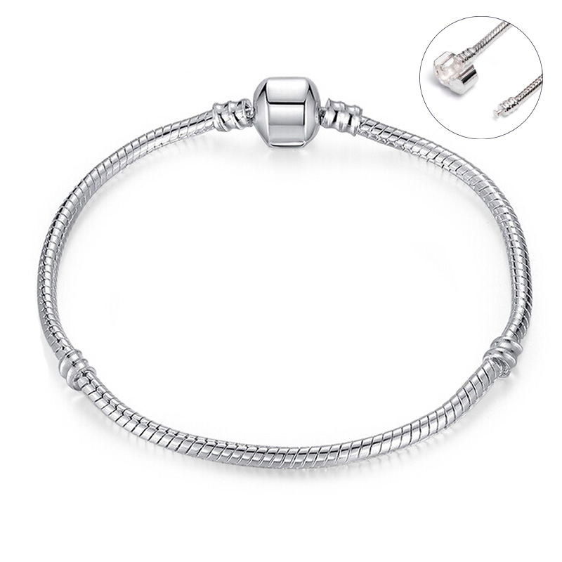 CM Silver Plated Smooth Diy Base Chain Charm Bracelets Women Snake Chain