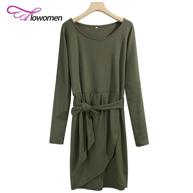 Flowomen Batwing Sleeve Wrap Dress With Belt Women Autumn Winter Bodycon Dress Ladies Long Sleeve Slim Casual Dresses Vestidos