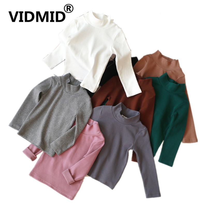 VIDMID T-Shirts Long-Sleeve Tees Tops Girls Baby-Boys High-Neck Kids Cotton 11 Solid