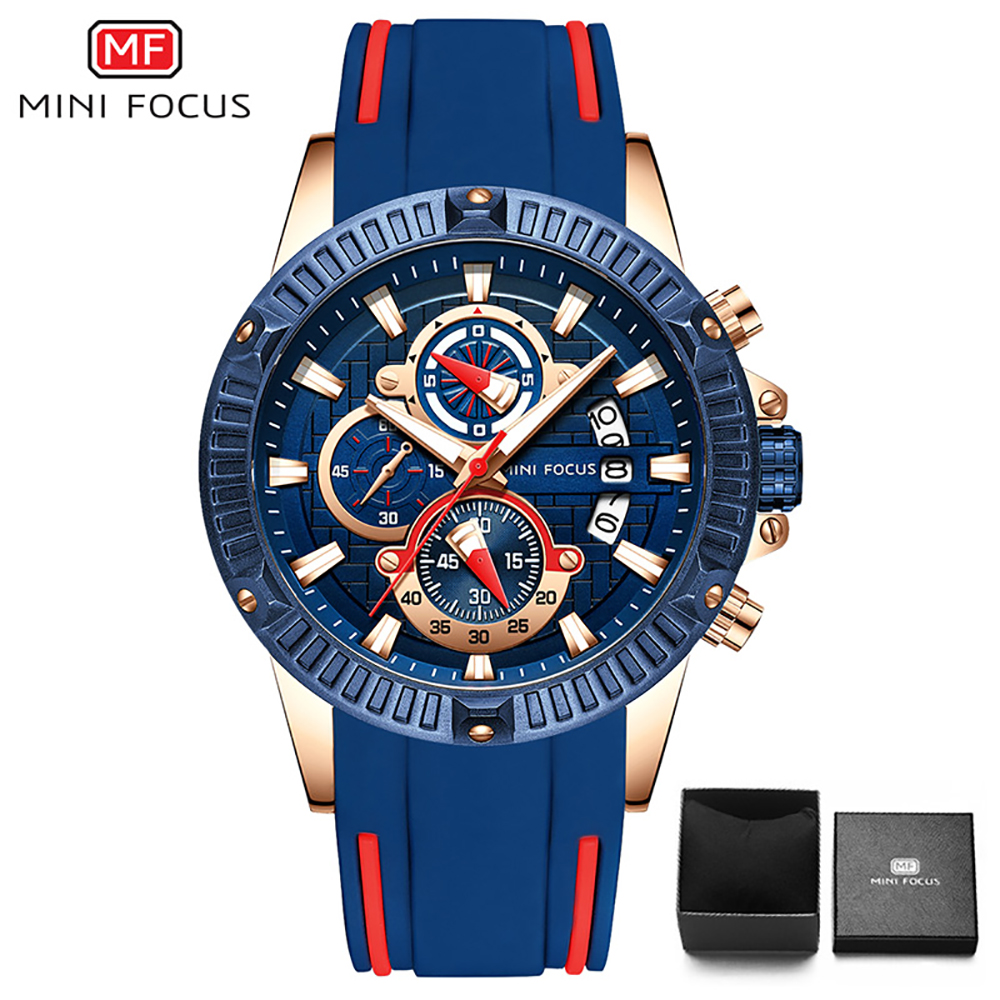 MINI FOCUS Mens Chronograph Analog Quartz Watch with Date, Luminous Hands, Waterproof Silicone Rubber Strap Wristswatch for ManMINI FOCUS Mens Chronograph Analog Quartz Watch with Date, Luminous Hands, Waterproof Silicone Rubber Strap Wristswatch for Man