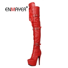 ENMAYER Woman Over The Knee High boots Women Shoes Winter Shoes Thigh high booty Big size 32-43 Leather Fashion Boots Zip CR2029 salu 2018 new over the knee genuine leather boots women winter shoes woman zip high quality free shipping
