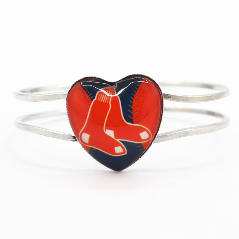 High quality heart alloy bracelet 6pcs/lot Boston Red Sox baseball sports team charms for sports fan bracelets jewelry