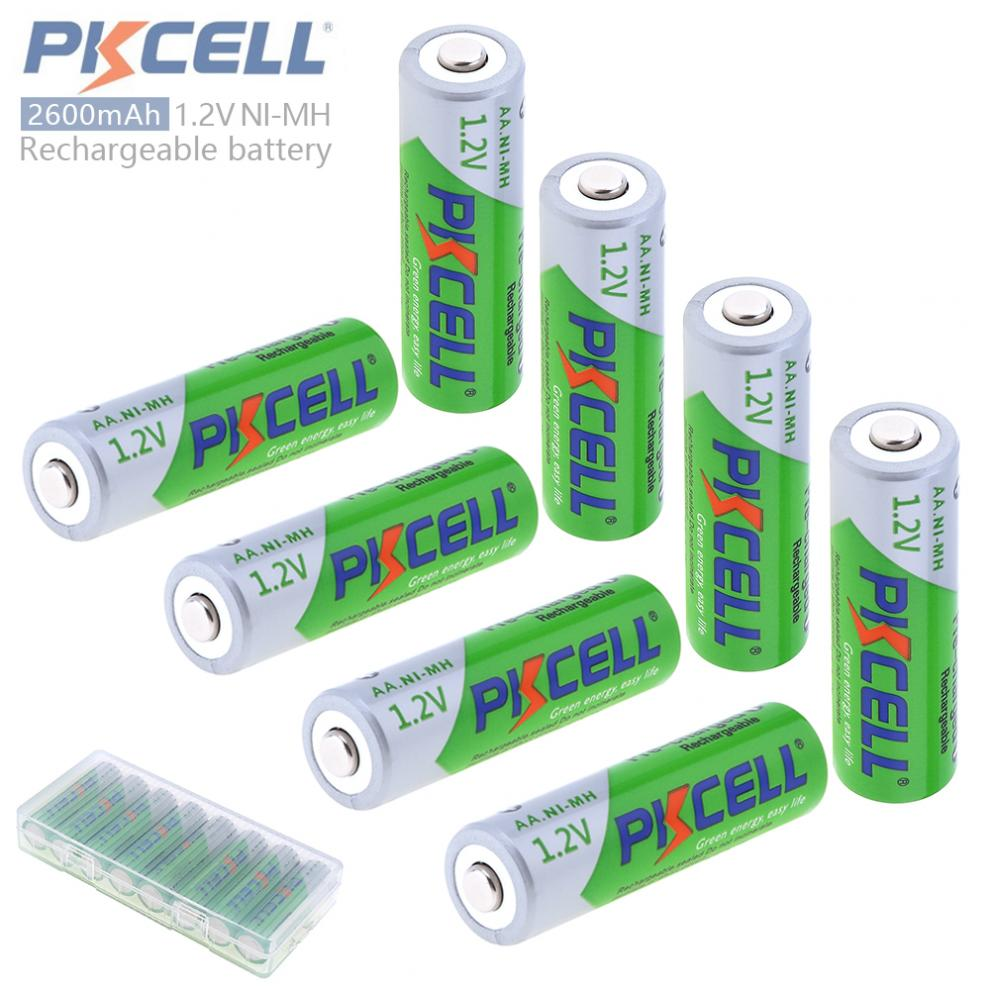 Pkcell 8pcs 1.2V AA 2600mAh Ni-Mh Rechargeable Batteries with Safety Relief Valve Support 2A Pre-charged+Battery Hold Case Box