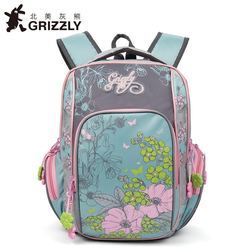 GRIZZLY 2017 NEW Russia Kids Backpack Cute Cartoon School Bags Orthopedic Waterproof Children Primary School for Girls Grade 1-4 цена 2017