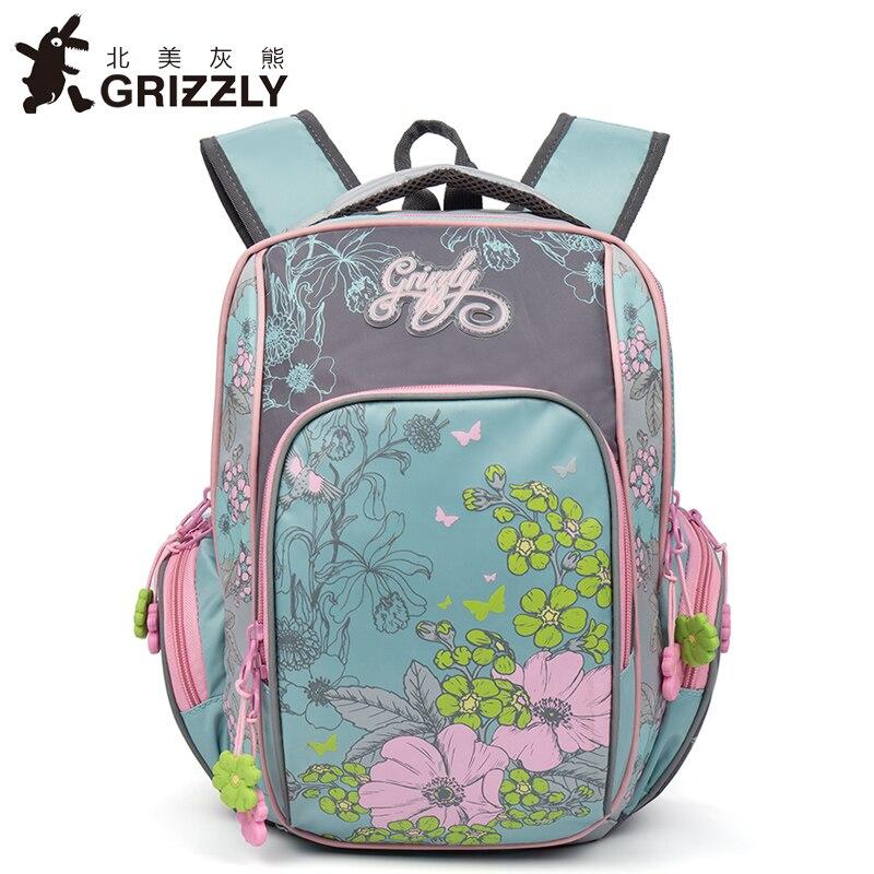 GRIZZLY 2017 NEW Russia Kids Backpack Cute Cartoon School Bags Orthopedic Waterproof Children Primary School for Girls Grade 1-4