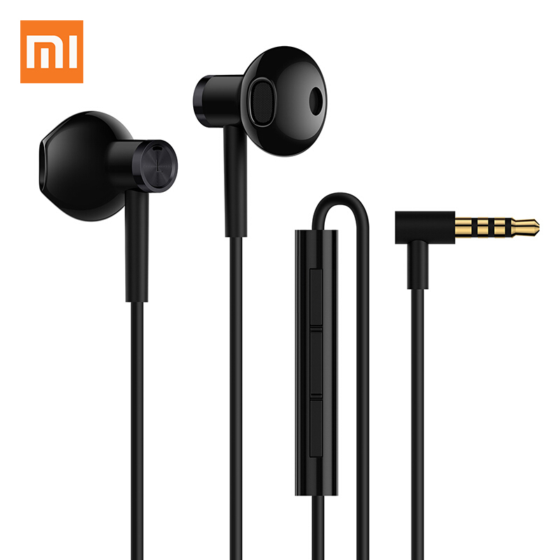 Original Xiaomi Dual Unit Earphone Half in-Ear Headset 3.5MM Wire Control with Mic