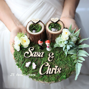 Free shipping 1pcs custom logo Bride & Groom ring pillow engagement marriage proposal wedding decoration or best girl boy gift