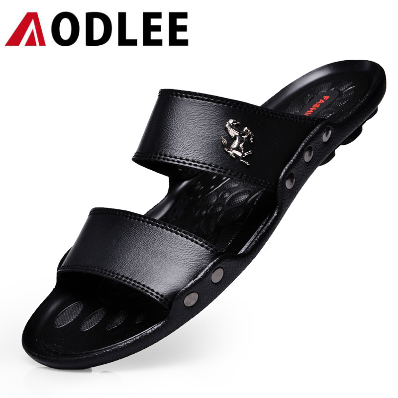 AODLEE Luxury Brand Men Sandals Slippers Breathable Summer Fashion Beach Men Casual Shoes Leather Slides Men