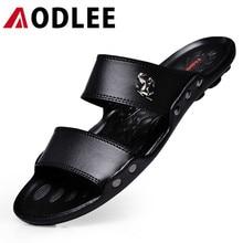 AODLEE Luxury Brand Hombres Sandalias Zapatillas de Playa de Los Hombres de Moda de Verano Transpirable Zapatos Casuales de Cuero de Diapositivas Hombres Zapatos Hombre