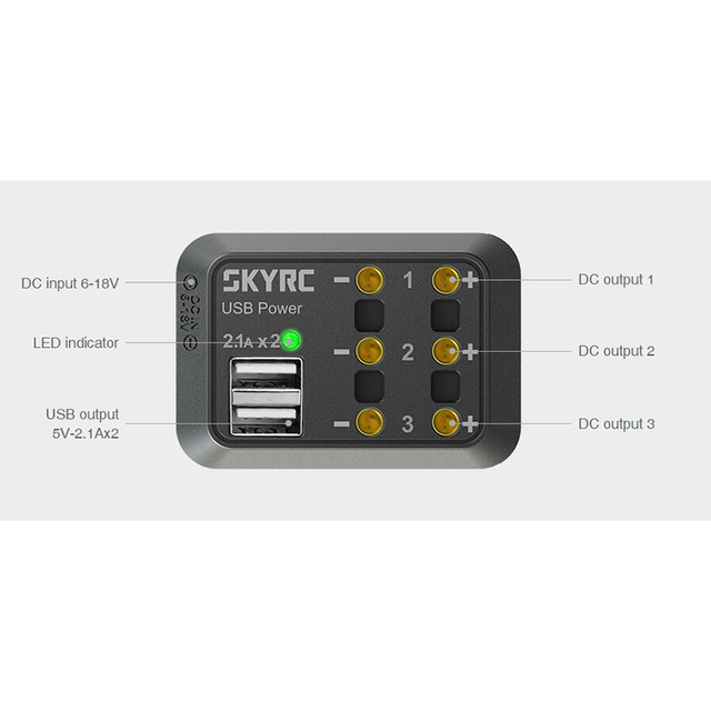 SKYRC DC Power Distributor หลายเอาต์พุต 10A XT60 ปลั๊กกล้วยปลั๊ก 5 โวลต์ 2.1A USB