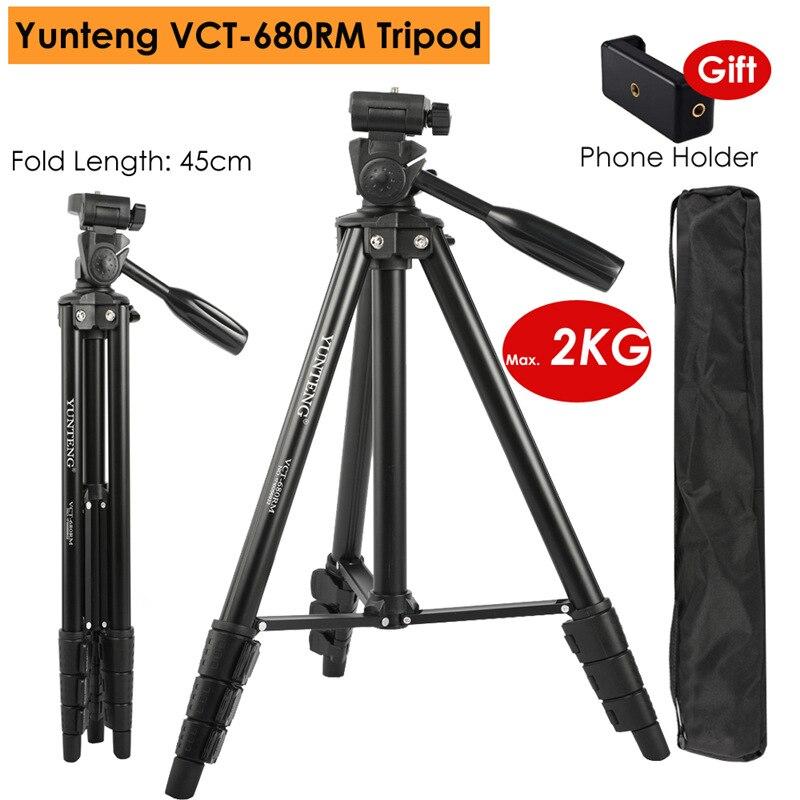 Yunteng VCT-680RM переносной телефон Алюминий сплав Камера DSLR штатив w/3-способ Панель шаровой головкой для смартфонов фотографии Youtube