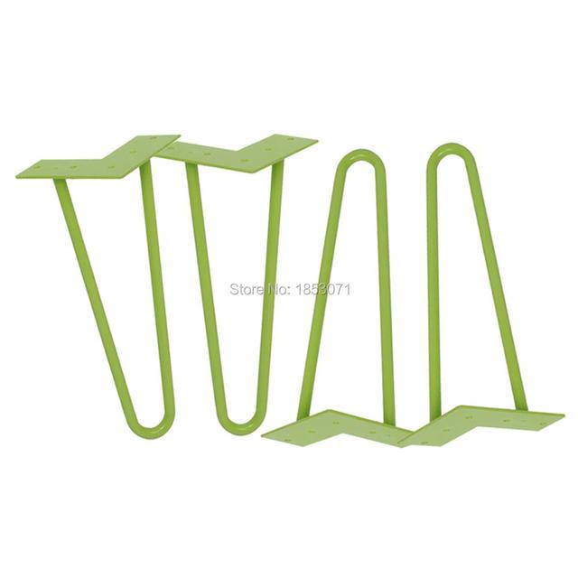 "12"" hairpin legs - green - 1/2"" steel rod - set of 4 - Coffee Table Legs, barber chair legs"