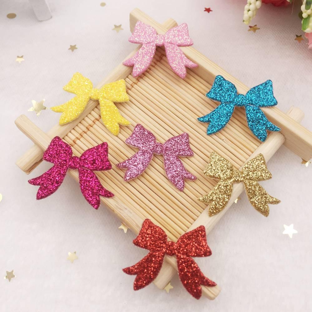 50pcs Mix Glitter Paillette Leather Cute Bow Applique Patches Wedding DIY Hair Clip Accessories Craft Supplies SE088