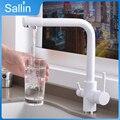Твердый латунный кухонный кран с фильтрованной водой Два Носика очистки воды кухонный кран бронзовая раковина смеситель кран