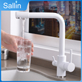 Solid Brass Kitchen Faucet with Filtered Water Double Spout Water Purification Kitchen Tap Bronze Sink Mixer Crane