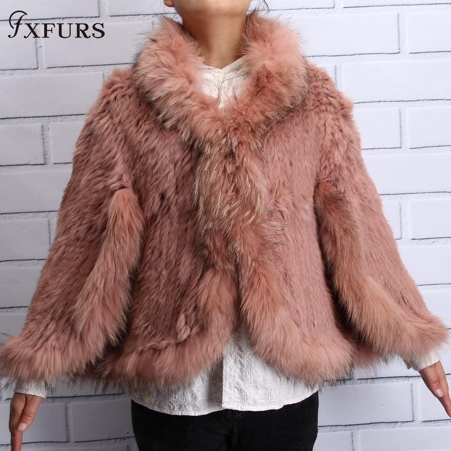FXFURS 2019 New Arrival Real Fur Ponchos Women Handmade Knit Natural Rabbit Fur Shawls With Raccoon Dog Fur Collar   Scarves     Wraps