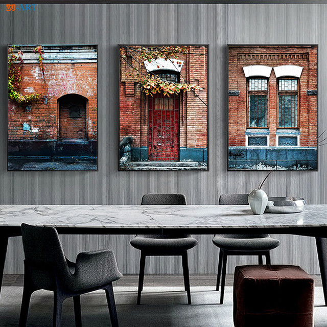 Architectural Art Print Old Window Wall Decor Grunge Wall Art Wooden ...
