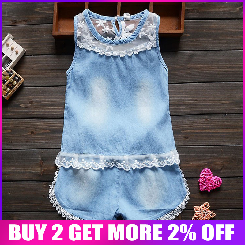 BibiCola summer   Baby Girl Denim Clothing Set Kids Girls 2pcs/set casual Jeans Tops+Shorts Bebes Girls O-neck lace Clothes