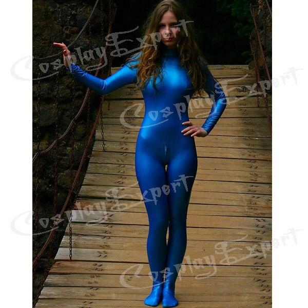Streng Freies Verschiffen Dhl Sexy Anzug, Ganzanzug Solid Color Shiny Metallic Catsuit, Blau Ganzanzug Catsuit, Keine Haube Hände Für Frauen Dauerhafte Modellierung