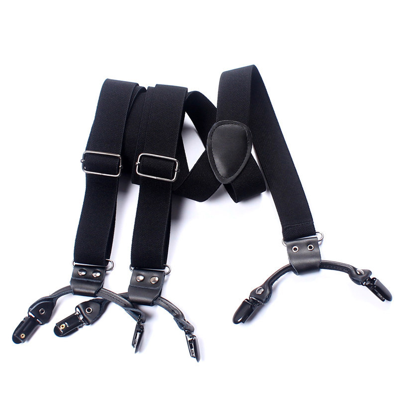 Mantieqingway Casual Trousers 6 clips Strap Suspenders Adjustable Clip-on Button Braces Elastic PU Leather Suspenders Belt