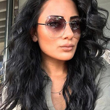 New Rimless Sunglasses Women Gradient Oversized Shades Metal Oculos Gafas Famale UV400 Protection Sun Glasses for Ladies 1058T